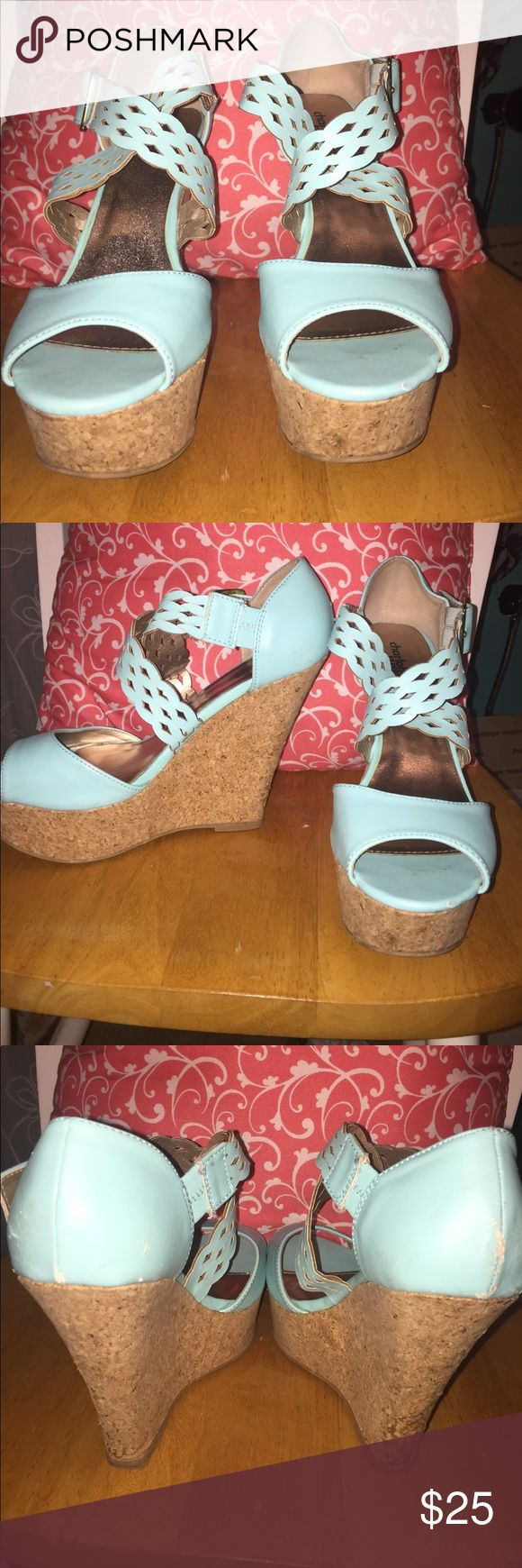 worn teal wedges teal, good condition, barely worn Shoes Wedges