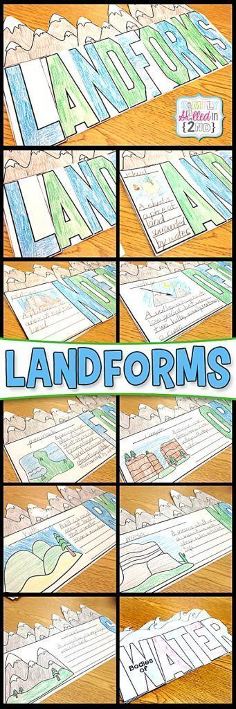 Learning about LANDFORMS | Each page flips open and there is a landform picture and lines to write a description about each landform.  There are 8 landforms included in this book.  But I also made a Landforms Flip-Flap Book that can be personalized with any landforms that the students/teacher chooses! | Simply Skilled in Second | #landforms #earthscience #teachingresources #2ndgrade #scienceactivity #flipflapbooks