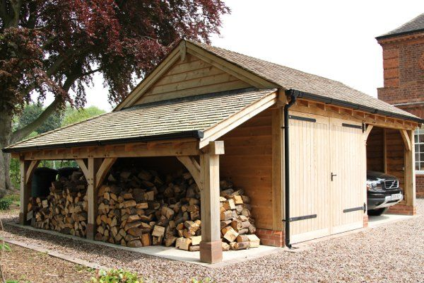 Wowser of an oak car port, workshop and double log store. Sherwood Oak.-SR