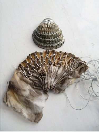 Fabric Manipulation smocking sample - textile interpretation of the natural surface patterns in shells