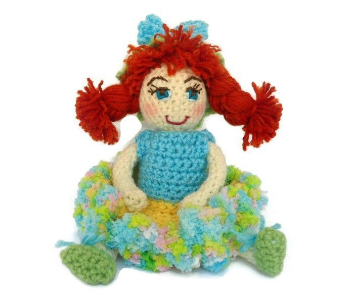 Handmade crocheted fabric doll OOAK