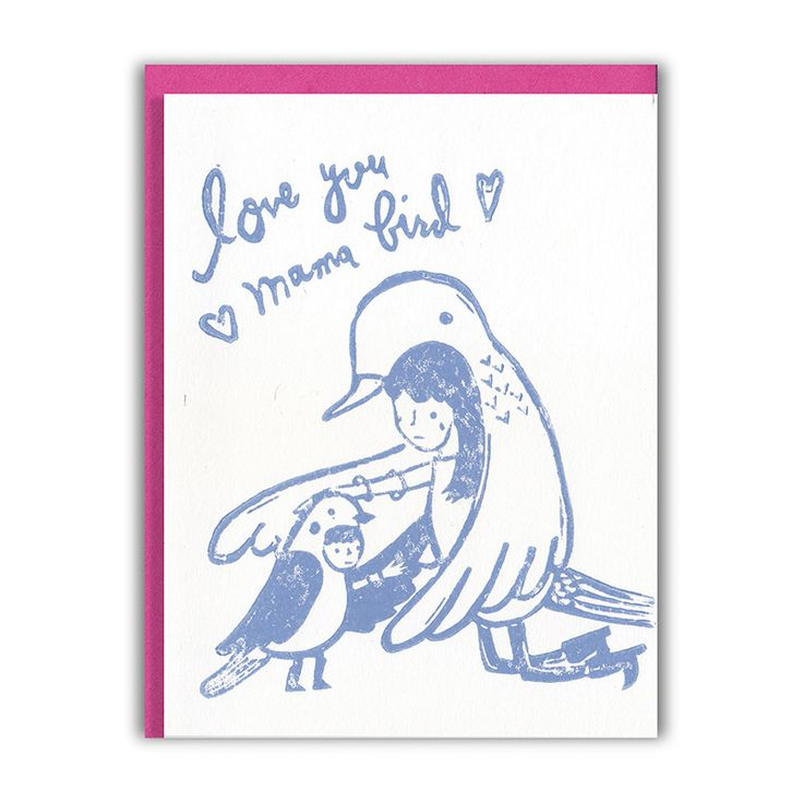 """mama bird"" card with a mama and baby in bird costumes.  ghost academy cards are printed using the centuries old technique of block  printing. each of our cards begins life as an original illustration  painstakingly carved into a hard block of linoleum. the carvings are then  hand inked and relief printed one by one in our sunny california studio.  block printed cards have saturated colors and a fun texture since the ink  sits right on top of the card. each print is unique, so yours will…"