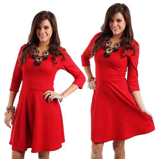Simple red dress w/black accessories. | Fashion Forward ...