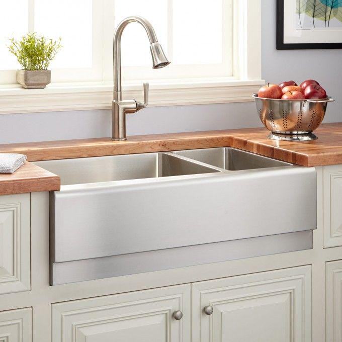 "33"" Optimum 70/30 Offset Double-Bowl Stainless Steel Farmhouse Sink"