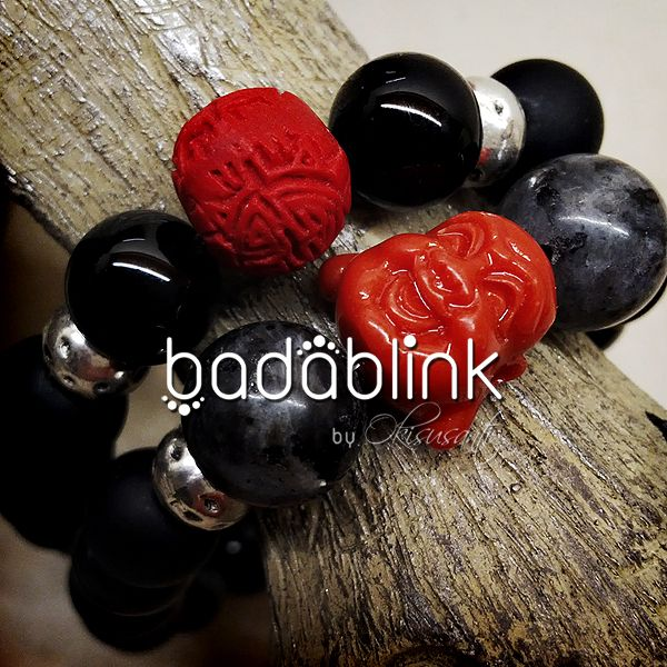 Black and gray stones bracelet with metal accents, red cinnabar bead, and red coral laughing Buddha head | Material: natural stones, coral, cinnabar beads, and metal   | Length: 18-22 cm/7-9 inches   | Inquiries: facebook.com/badablink    | Line: badablink    | Email: hello@thebadablink.com