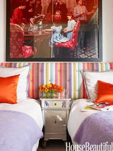 Bedroom/Twin beds with long headboard in Missoni (Brisbane) fabric