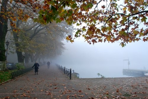 misty Giannena by the lake. Epirus, Greece.