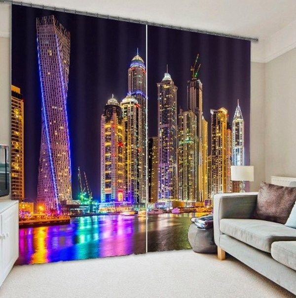 Dubai architecture 3d curtain print