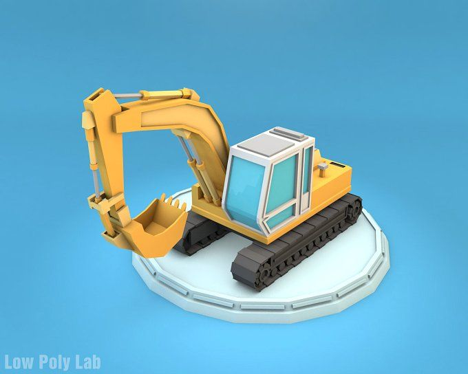Low Poly Excavator by Low Poly Lab