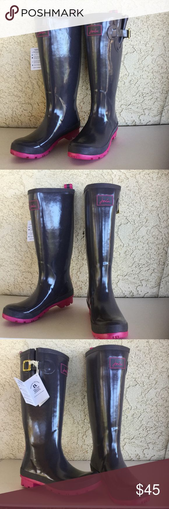 Joules Wellies Rain Boots Gray & Pink Glossy rain boots by Joules, NWT. Size 7. Joules Shoes Winter & Rain Boots