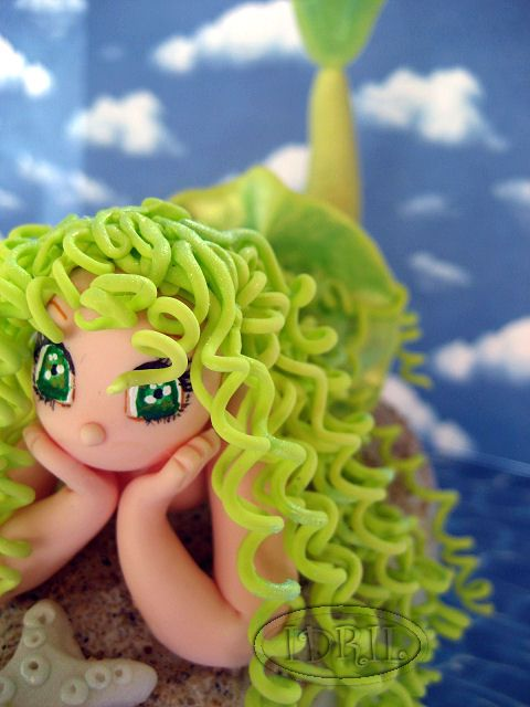 mermaid...I did this hair on my vampire bride on my groom's cake.