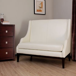Lummi Off White Leather High Back Loveseat Furniture