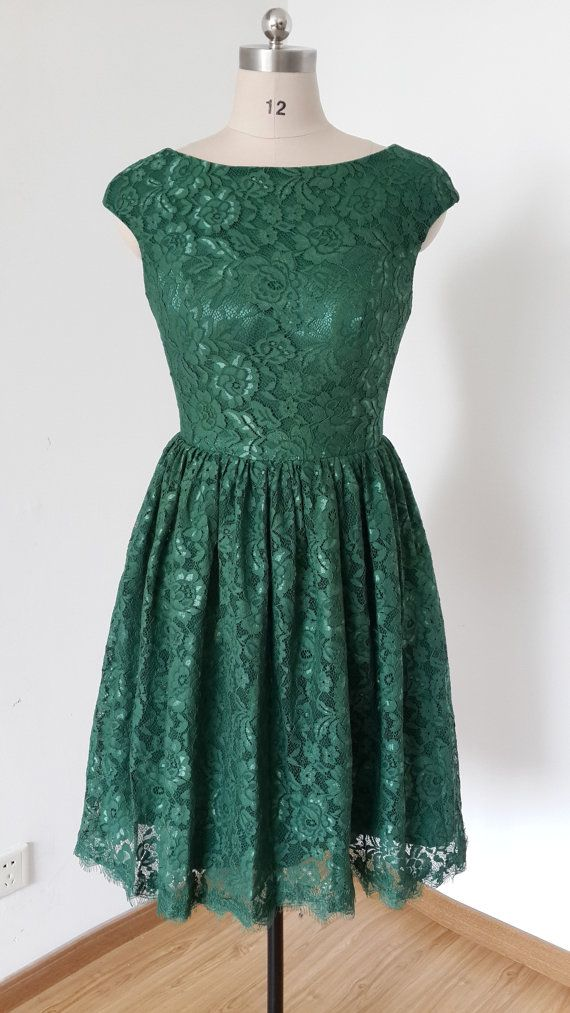 Forest green bridesmaid dress.