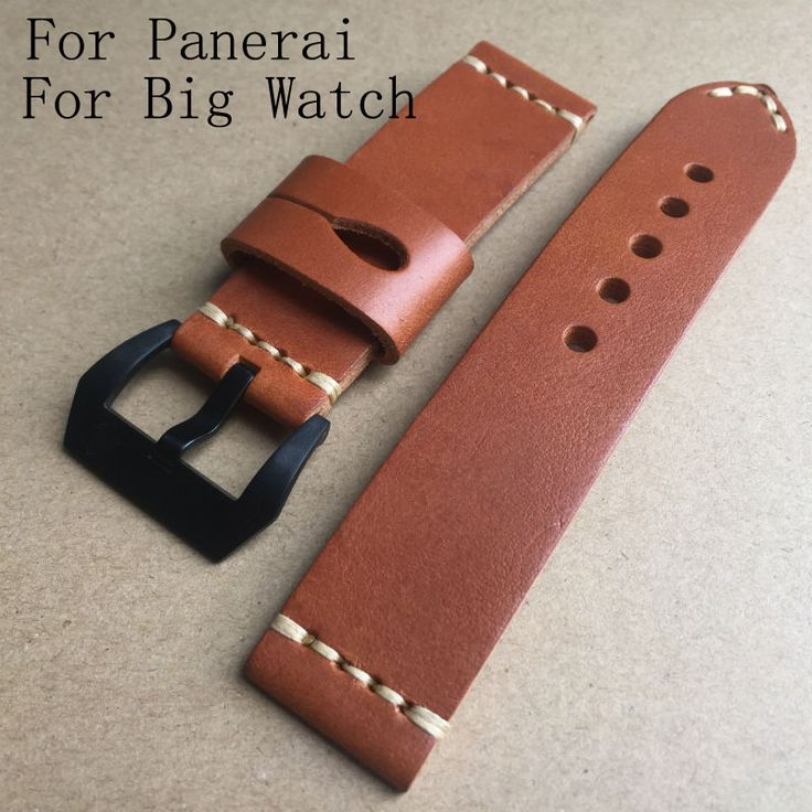 >> Click to Buy << Handmade Calfskin Leather Brown 22mm 24mm Watch Strap Belt, AAA Luxury Retro Leather Watchband For Pam And Big Watch #Affiliate