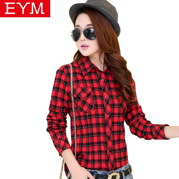 21colors women tops and blouses 2016 new fashion spring long-sleeve plaid shirt outerwear loose plus size blouse shirts women