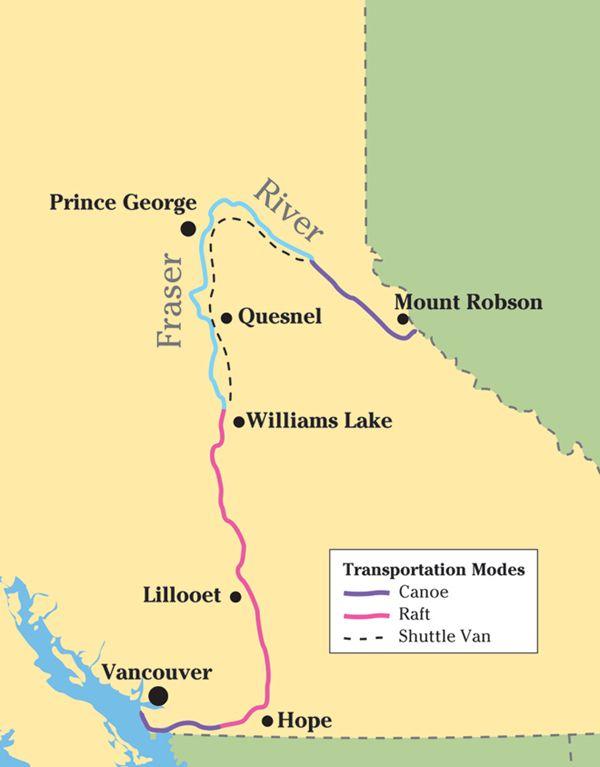 Fraser River Map The 1,400 km SLLP journey down the Fraser River. Map: