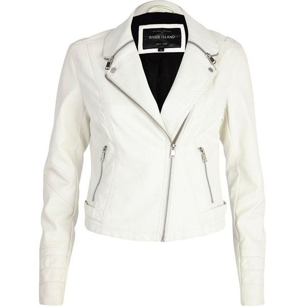 River Island White zipped collar biker jacket found on Polyvore