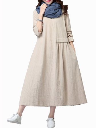 Gracila Elegent Loose Women Pleated Solid Color Long Sleeve Dress