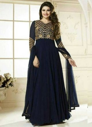 Prachi Desai Navy Blue Heavy Sequins Work Georgette Party Wear Long Anarkali Suit http://www.angelnx.com/Salwar-Kameez