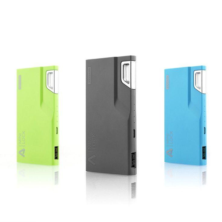 Aukey® Mini Lock 3000mAh Ultra-Compact Power Bank External Battery Charger-Green, Black, Blue