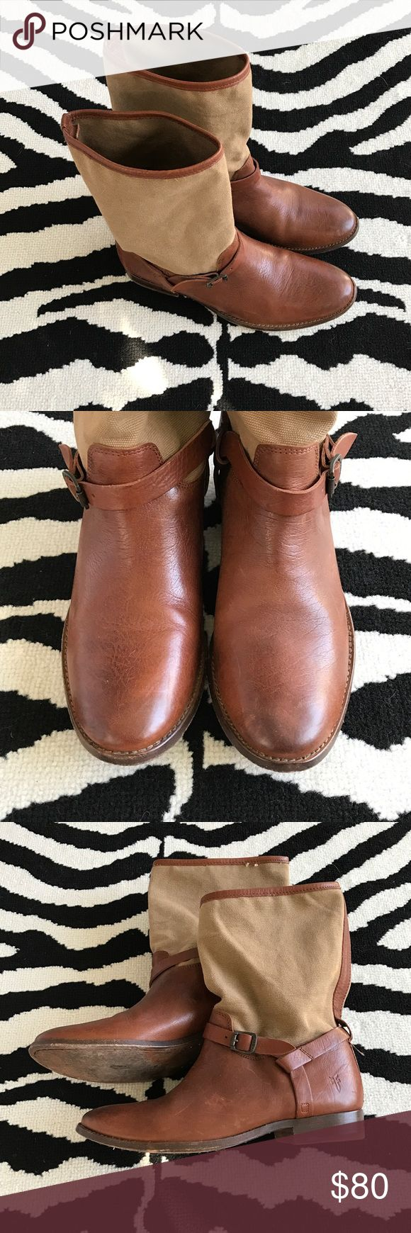 FRYE Melissa Boots Leather boot with canvas shafts. Very good used condition! Clean with little scuffing. Frye Shoes Ankle Boots & Booties