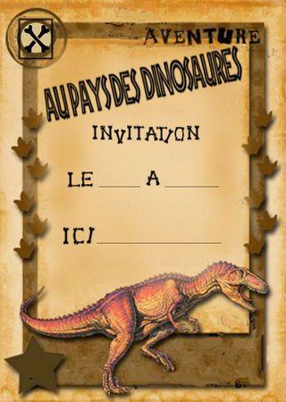 dinosaures - plein de cartes d'invitation et et d'autres choses (mais impression pas facile)