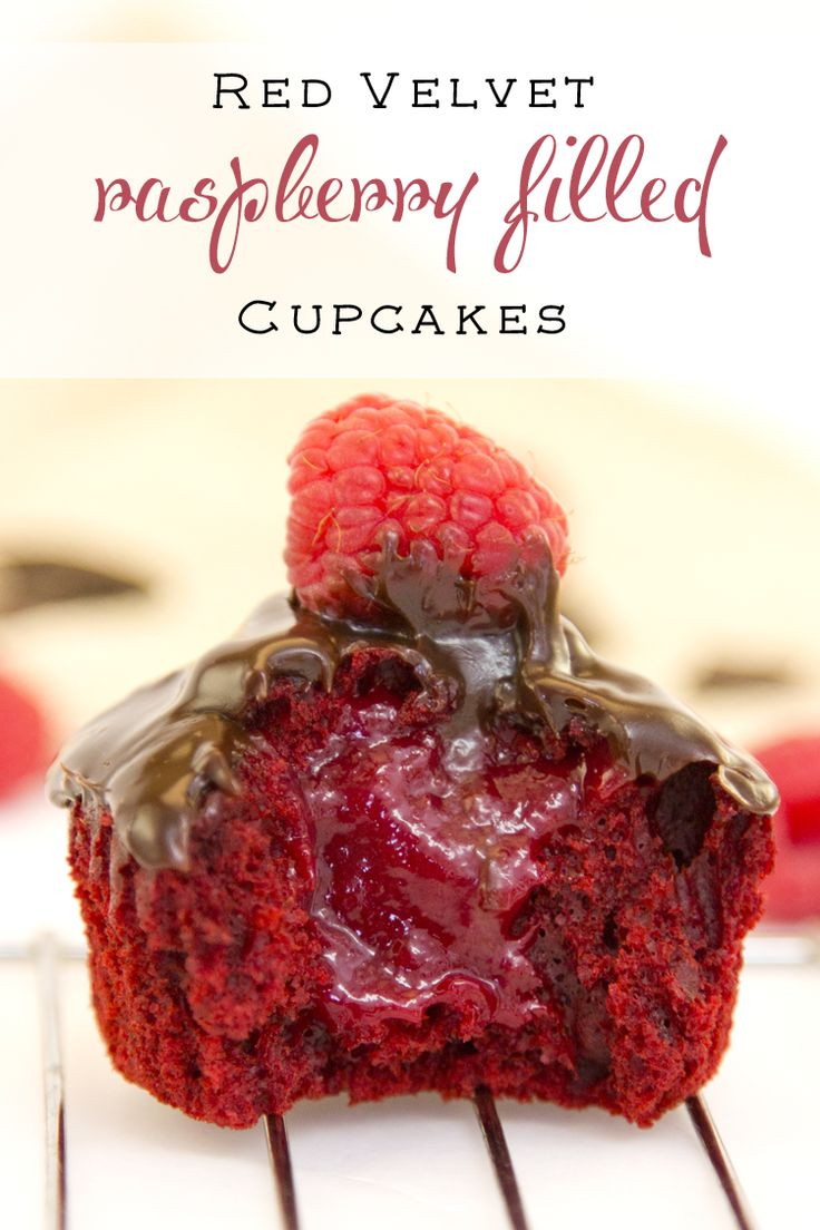 Delicious raspberry filled cupcakes with a red velvet color. I give you the best time-saving instructions ever. My trial and error is your perfect cupcake! :)