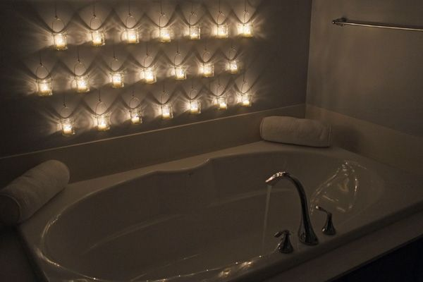 hanging candles on bathroom wall.. what a statement!: Idea, Hanging Candles, Bathtub, Bathroom Wall, Diy Wall, Master Bathrooms, Lime