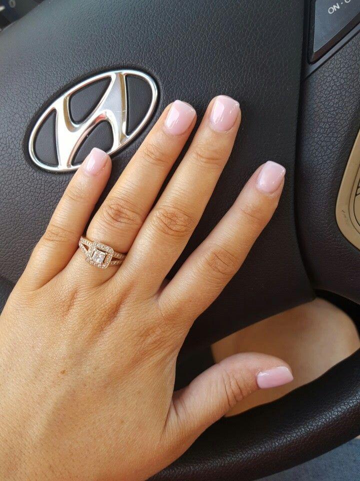 OPI bubble bath, dark pink acrylic powder, short acrylic nails.