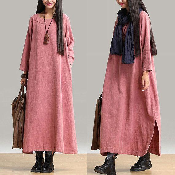2014 new autumn Nine point sleeve dress linen dress female loose dress N-384