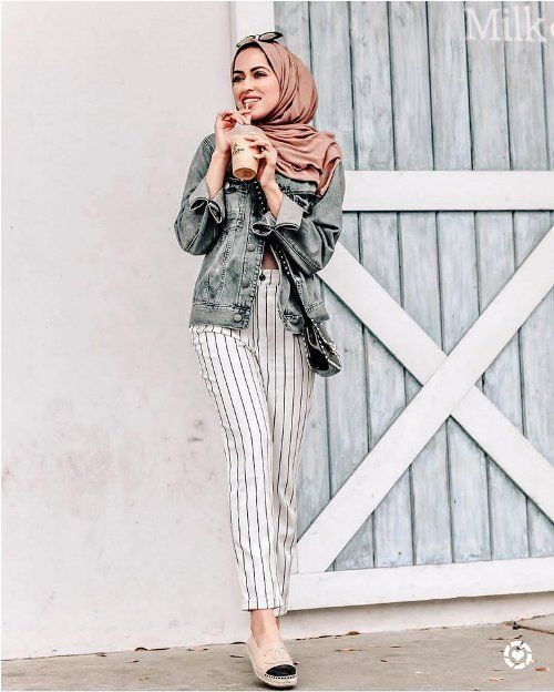 striped pants hijab look-Casual Summer Hijab Clothing – Just Trendy Girls