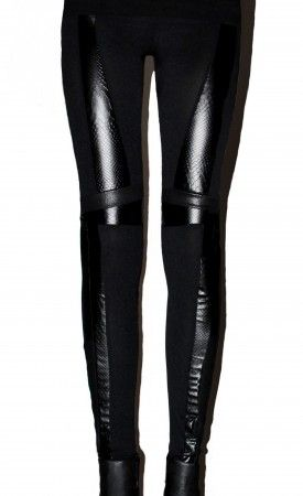 BLACK SNAKE panel leggings #brzozowska #brzozowskafashion #minimalism #leather #snake