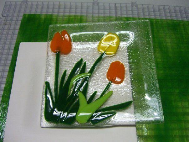trinket plates - fused glass kiln formed