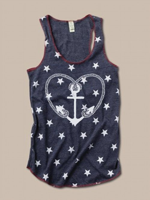 NEW Womens ANCHOR HEART Print Tri Blend Tank Top Alternative Apparel Star Patterns Small Medium Large XLarge Racerback