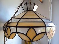 VINTAGE SLAG /STAIN GLASS CEILING HANGING LAMP