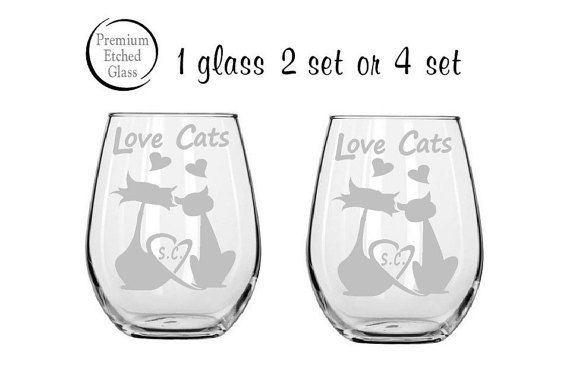 stemless wine glasses,cat wine glass,Love Cats,anniversary gifts,pet glasses,couples Gifts,Christmas gifts,Etched gifts by milestoneartworks. Explore more products on http://milestoneartworks.etsy.com