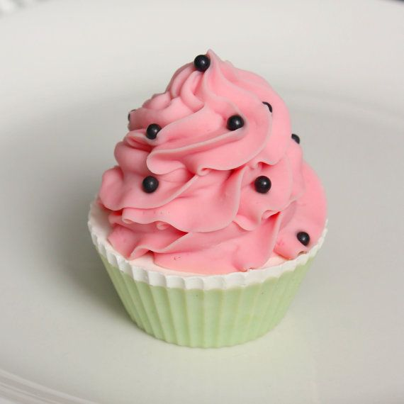 Watermelon Cupcake Soap by BakedSoapCo on Etsy, $6.50 - How adorable is this? I bet ya this smells amazing!