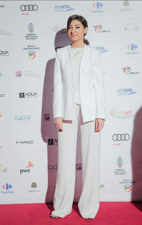 Laura Hîncu attend Gopo Gala Awards  shop.lairahincu.ro #white #suit #minimalist #elegant #pants #draped #blouse #pants #silk #coat #woman #whites #outfit #elwgant