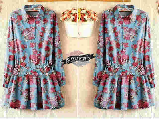blouse Ganessa s@60 e@66 mat denim ori printing (high quality)fit to L bsr pjg 72cm