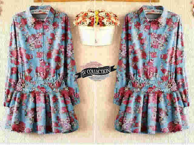 blouse Ganessa s@60 e@66 mat denim ori printing (high quality)fit to L bsr pjg 72cm