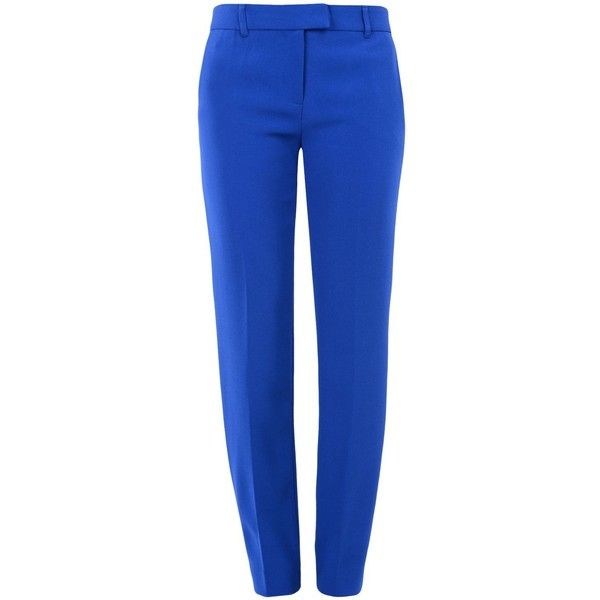 Boutique Moschino Casual Trouser (940 PEN) ❤ liked on Polyvore featuring pants, bottoms, bright blue, zipper pants, blue pants, crepe pants, blue trousers and button pants