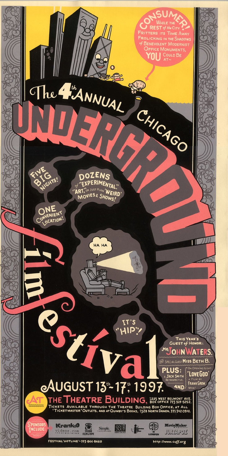 "Acme Novelty Archive - ""4th Annual Chicago Underground Film Festival"" Silkscreen"