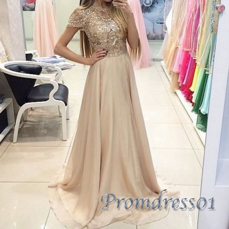 Beaded chiffon prom dress with seeves, 2016 long modest prom dress with top…