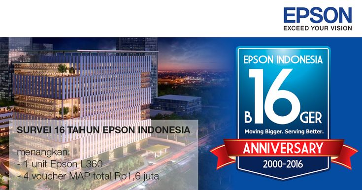 Ikuti survei 16 tahun Epson Indonesia, menangkan printer Epson L360 & voucher MAP Rp1,6 juta.