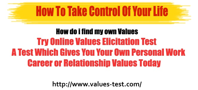 Try Online Values Elicitation Test A Test Which Gives You Your Own Personal Work Career or Relationship Values Today  http://www.values-test.com/