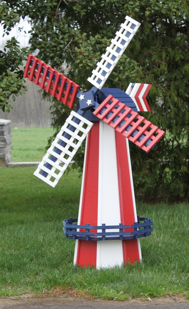 Lawn windmills ornamental - Amish Poly Wood Two Tone Dutch Windmill Large Amish Nautical Decor Collection Great Things Happen When Our Incredible Amish This Ornamental Lawn