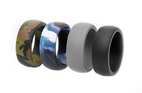 Mens Silicone Wedding Ring - 4 Rings Pack - Ultra Premium Quality Bands for Active Men - Black Grey Blue Green Camo (10)