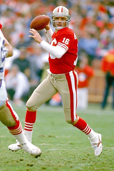 Joe Montana, San Francisco 49ers, greatest QB of all time, 4 Super Bowl Rings.