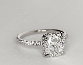 Blue Nile Studio Cushion Cut Petite French Pavé Crown Diamond ...