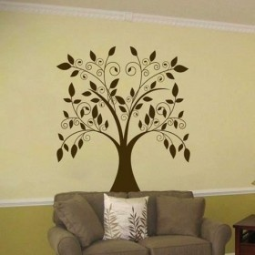 Perfect Large Swirling Tree With Falling Leaves   Vinyl Wall Decal Nice Ideas